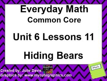 Everyday Math 4 EDM4 Common Core Edition Kindergarten 6.11 Hiding Bears