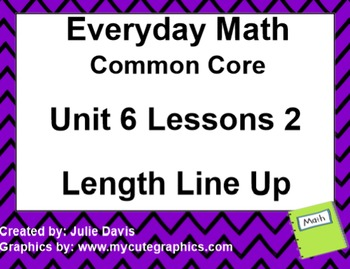 Everyday Math 4 EDM4 Common Core Edition Kindergarten 6.2 Length Line Up