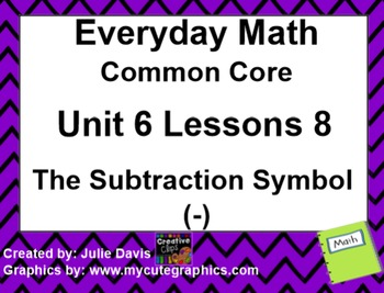 Everyday Math 4 EDM4 Common Core Edition Kindergarten 6.8 The Subtraction Symbol