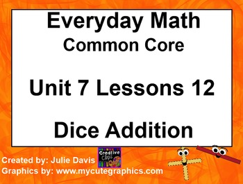 Everyday Math 4 EDM4 Common Core Edition Kindergarten 7.12 Dice Addition
