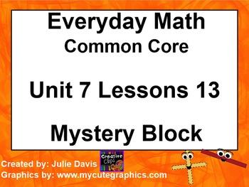 Everyday Math 4 EDM4 Common Core Edition Kindergarten 7.13 Mystery Block