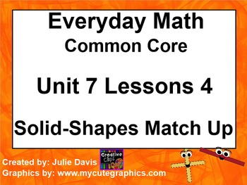 Everyday Math 4 EDM4 Common Core Edition Kindergarten 7.4 Solid Shapes Match Up