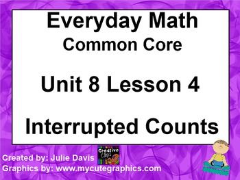 Everyday Math 4 EDM4 Common Core Edition Kindergarten 8.4 Interrupted Counting
