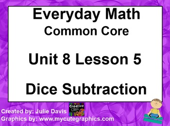 Everyday Math 4 EDM4 Common Core Edition Kindergarten 8.5 Dice Subtraction