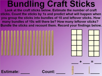 Everyday Math 4 EDM4 Common Core Edition Kindergarten 8.6 Craft Stick Bundles
