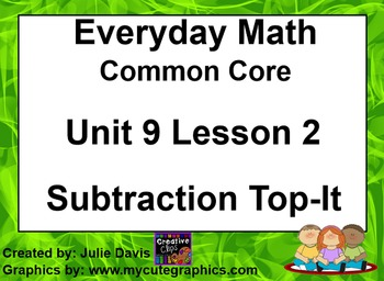 Everyday Math 4 EDM4 Common Core Edition Kindergarten 9.2 Subtraction Top-It