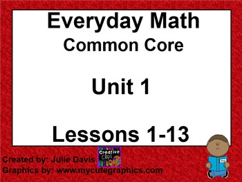 Everyday Math 4 EDM4 Common Core Edition Kindergarten Unit 1 Bundle