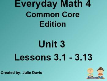 Everyday Math 4 EDM4 Common Core Edition Kindergarten Unit 3 Bundle