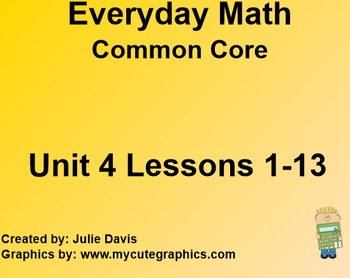 Everyday Math 4 EDM4 Common Core Edition Kindergarten Unit 4 Bundle