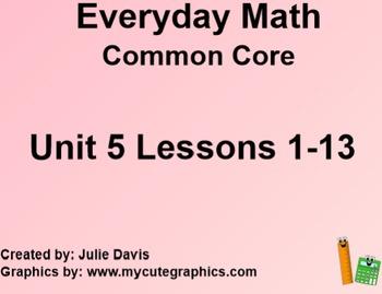 Everyday Math 4 EDM4 Common Core Edition Kindergarten Unit 5 Bundle