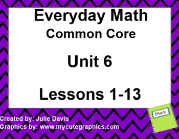 Everyday Math 4 EDM4 Common Core Edition Kindergarten Unit 6 Bundle