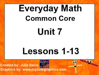 Everyday Math 4 EDM4 Common Core Edition Kindergarten Unit 7 Bundle