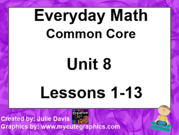 Everyday Math 4 EDM4 Common Core Edition Kindergarten Unit 8 Bundle
