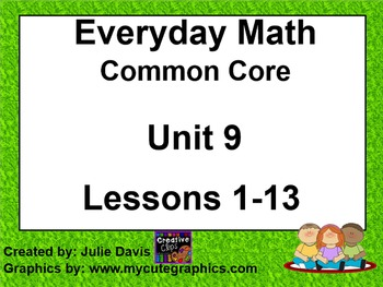 Everyday Math 4 EDM4 Common Core Edition Kindergarten Unit 9 Bundle