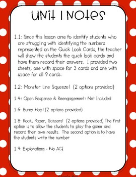 Everyday Math 4 (EM4) - Unit 1 ACI Booklet for First Grade!