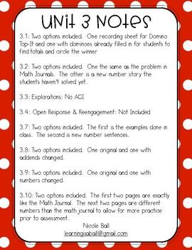 Everyday Math 4 (EM4) - Unit 3 ACI Booklet for First Grade!