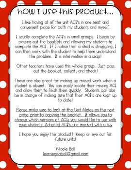 Everyday Math 4 (EM4) - Unit 8 ACI Booklet for First Grade!