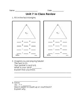 Everyday Math 4 First Grade Unit 7 Reviews
