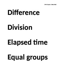 Everyday Math 4 Grade 3 Chapter 1 Word Wall Words EM4