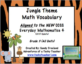 Jungle Themed 3rd Grade Math Vocabulary New Everyday Math 4
