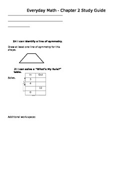 Everyday Math 4 Grade 4 Ch 2 Study Guide