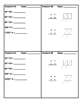 Everyday Math 4 Grade 4 Ch 4 Standards Based Exit Slips