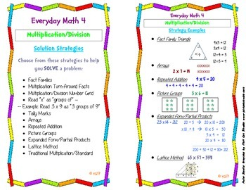 Everyday Math 4: Multiplication & Division Strategy Card
