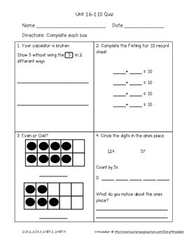 Everyday Math 4 Unit 1 Assessment Pack