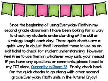Everyday Math 4 Unit 1 Quick Checks