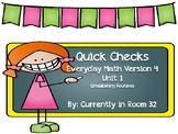 Everyday Math 4 Unit 1 Quick Checks