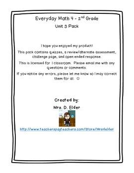 Everyday Math 4 Unit 3 Assessment Pack