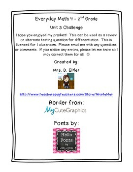 Everyday Math 4 Unit 3 Challenge