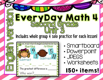 Everyday Math 4| Unit 3| English| Grade 2| Smartboard, Powerpoint, Worksheets