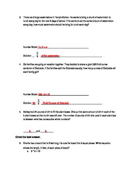 Everyday Math 4 Unit 3 Quizzes Grade 5