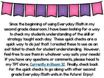 Everyday Math 4 Unit 4 Quick Checks