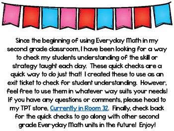 Everyday Math 4 Unit 5 Quick Checks