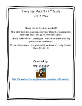 Everyday Math 4 Unit 7 Assessment Pack