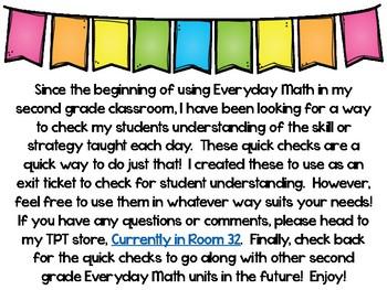 Everyday Math 4 Unit 9 Quick Checks