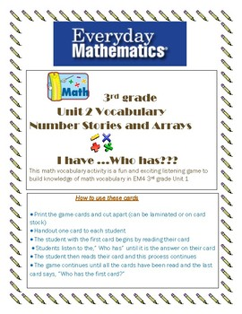 Everyday Math 4 grade 3 unit 2 I have.....Who has?