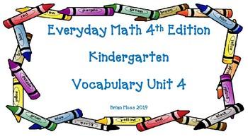 Everyday Math 4th Edition Kindergarten Vocabulary Unit 4