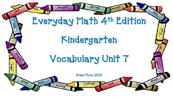 Everyday Math 4th Edition Kindergarten Vocabulary Unit 7