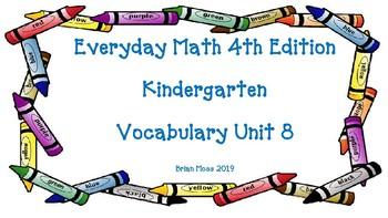 Everyday Math 4th Edition Kindergarten Vocabulary Unit 8