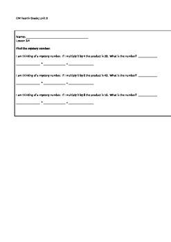 Everyday Math 4th Grade Exit Slips Unit 3