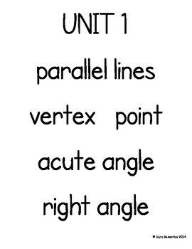Everyday Math 4th Grade Vocabulary Cards