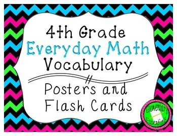 4th Grade Everyday Math Vocabulary Posters & Flash Cards - ALL UNITS