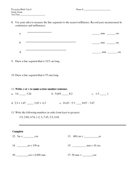 Everyday Math 4th grade Unit 4 Study Guide
