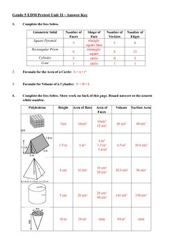 Everyday Math 5th Grade Unit 11 Pretest