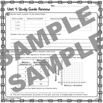 Everyday Math 5th Grade Unit 4 Review Test Prep Study Guide