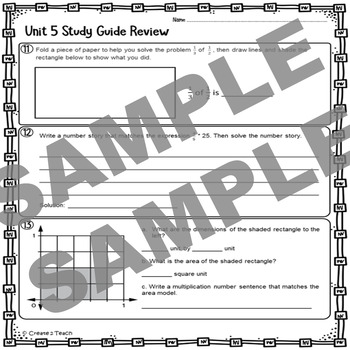 Everyday Math 5th Grade Unit 5 Review Test Prep Study Guide