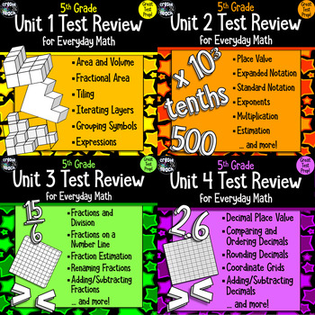 Everyday Math 5th Grade Units 1 4 Review Test Prep Study Guide Bundle